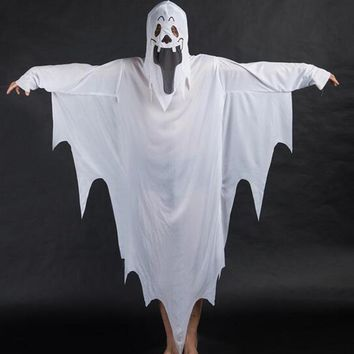 Halloween Costumes White Ghost Tattered Gown Mask Girl Boy Children Fancy Dress Cosplay
