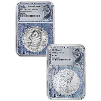 2019 Apollo 11 50th Anniversary & Silver Eagle 2-Coin Set NGC MS-70 (First Day, Moon Core)