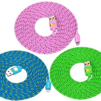 10 Ft Top Quality Nylon Cloth Jacketed Tangle-Free USB 2.0 to 8 Pin Apple Lightning Cable for iPhone 6, 6Plus, 5, 5c ,5s, iPad 4, iPad mini, iPod nano 7, iPod 5G (teal green blue)