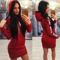 Slim Hooded Sweater Dress B0014332