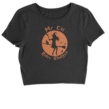 My Cat Rides Shotgun Witch on Broom  Cropped T-Shirt