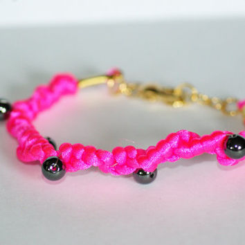 HOT PINK Neon Bracelet with Black Beads
