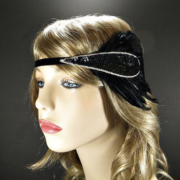 Great Gatsby Headpiece, 1920s Flapper Headband Daisy Buchanan Costume Party Bridesmaid Gifts Black Feather with Art Deco Beaded Fascinator