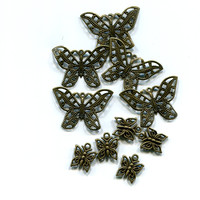 bronze filigree butterfly charms pendants metal 10 pc lot 10mm and 30mm jewelry making supplies