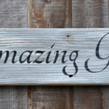 Thanksgiving Decor - Wood Sign - Christmas Decor - Wood Sign - Housewarming - Wedding Gift - Amazing Grace Rustic Driftwood Sign Rustic Wall