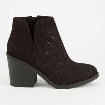 SODA Perforated Side Slit Womens Booties | Boots + Booties