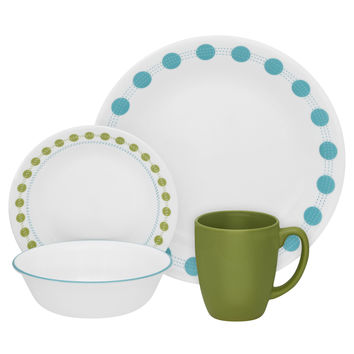 Corelle South Beach 16 Piece Dinnerware Set Blue Green White