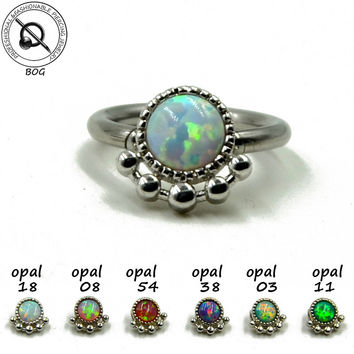 BOG-1pc Opal Piercing Septo Septum Nose Ring Clicker Captive Bead Ring Ear Cartilage Hoop Piercing Nipple Ring 14g 16g
