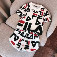 '' FILA '' Print Short sleeve Top Shorts Pants Sweatpants Set Two-Piece Sportswear