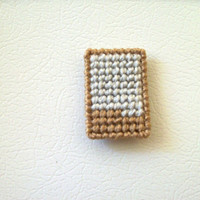 Geometric Fridgie--Silver and Tan