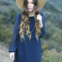Never Too Much Navy Long Sleeve Dress