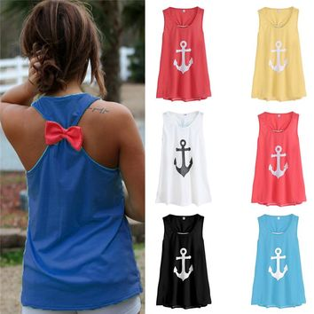 Fashion Women Summer Anchor Vest Top Sleeveless Bow Casual Tank Top T Shirt 7 colors