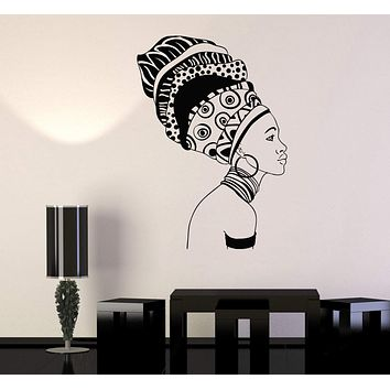 Vinyl Wall Decal Beautiful Black Girl Ethnic Décor Africa African Woman Stickers Unique Gift (701ig)