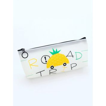 Pineapple Pattern Jelly Pencil Case
