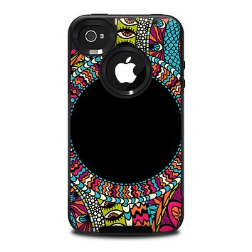 The Vector Colored Aztec Pattern WIth Black Connect Point Skin for the iPhone 4-4s OtterBox Commuter Case