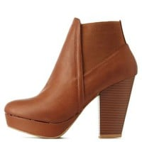 Chestnut Bamboo Gored Chunky Heel Booties