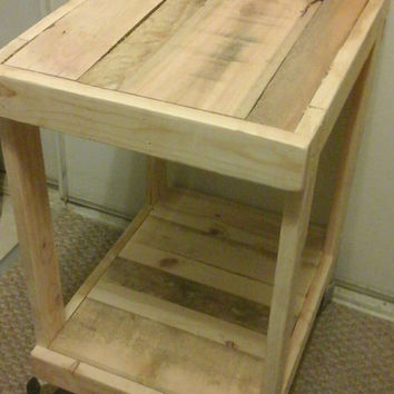Small  two-level side table with wheels, end table / coffee table / reclaimed wood flash pilot weather
