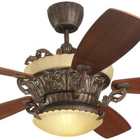 "0-001376>Strasburg 56"" 5-Blade Ceiling Fan with Remote/Uplight Tuscan Bronze"
