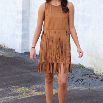 Rain Dance Suede + Fringe Dress {Camel}