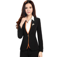 Work Coats 2016 new fashion full sleeve solid plus size 5XL women clothing  one button OL office blazers 6123