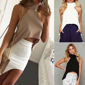 Women High Neck Vest Crop Top Sleeveless Short Shirt Blouse Casual Tank T-Shirt