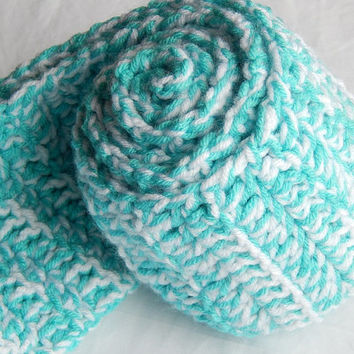 Turquoise and White Double Strand Scarf Crochet Female Scarf Multicolored Fashion Scarf