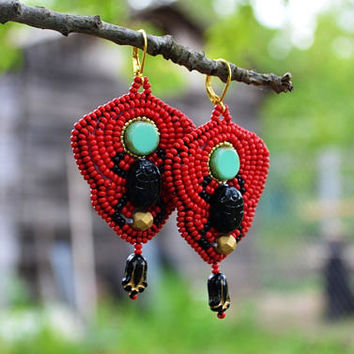 Black Red Scarab Bead embroidered earrings Egyptian Beadwork earrings Turquoise black beaded earrings Bead embroidery jewelry Gift earrings