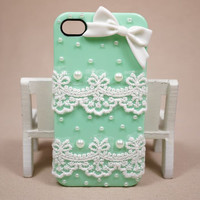 Pearl lace white bow iphone 4 case cover/ iphone by Hamaphonecase