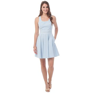 Savannah Seersucker Dress in Boat Blue  by Southern Tide