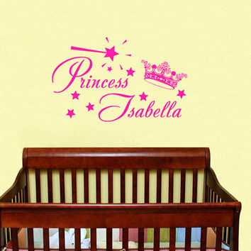 Childrens Decor Nursery Girls Wall Decals Vinyl Art Personalized Name Princess Crown Stars Custom Decal Unique Design for Any Room V468