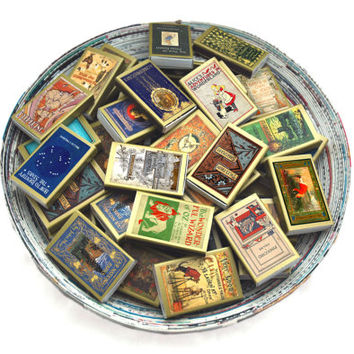 One Hundred (100) Wholesale Golden Book Covered Matchboxes - Paper Art - Light a Literary Spark