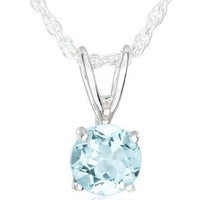 Sterling Silver Round Blue Topaz Pendant Necklace with Light Rope Chain Necklace