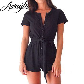 Awaytr Women Fashion Pant With Belt Solid Color V-neck Single Button Cotton Romper Casual Sexy Street Style Pants Black