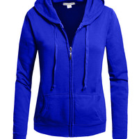 LE3NO Womens Zip Up Fleece Hoodie Jacket with Stretch (CLEARANCE)