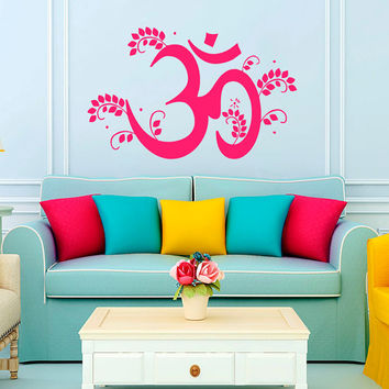 Om Oum Sign Floral Pattern Yoga Gym Decal Vinyl Sticker Decor Home Interior Design Art Murals M783