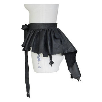 Steampunk Fashion Black Leather Over Skirt Bustle Belt Overskirt,  custom