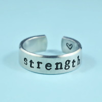 [♡037] strength Ring - Hand Stamped Aluminum Ring, Inspirational Gift