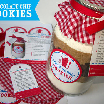 Cookie Jar Decorations Chocolate Chip Cookie recipe with ribbon, cloth topper, labels, and gift tags