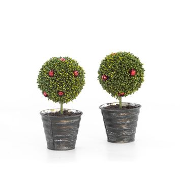SET OF 2 RED BELL TOPIARIES