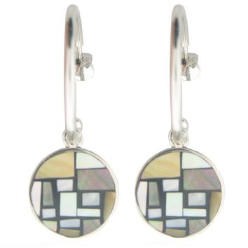 Vintage Button Mother of Pearl Hoop Earrings in 925 Sterling Silver - Free Shipping