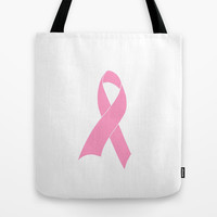 Pink Ribbon Breast Cancer Awareness Tote Bag by RexLambo