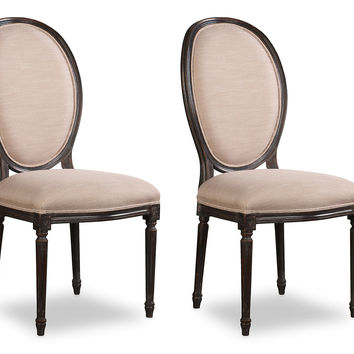 White Louis XVI Oval Side Chairs, Pair, Dining Chair Sets