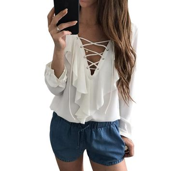 Sexy Women Tops Chiffon Blouse Shirt Lace Up V Neck Ruffles Long Sleeve Black White Shirts Casual Hollow Out blusas mujer 2017