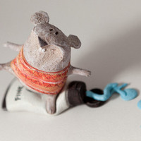 "Mice Set ""The artist friends..."" Handmade Stoneware Sculpture, Ceramic Animal Figure"