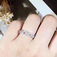 Infinity Ring, Twisted Wedding Band, Stackable Anniversary Bands, Promise Ring for her, Pinky Ring, Man Made Diamonds, 925 Sterling Silver