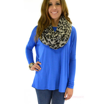 Galloway Blue Piko Long Sleeve Top