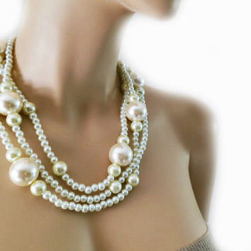 Large Pearl Necklace Brides Bridesmaids Chunky Ivory Pearls