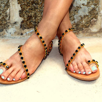 luxury rock sandals, Chic black Sandals, , rose gold Greek Sandal, exclusive DELOS sandals, Genuine leather shoes, Summer sh