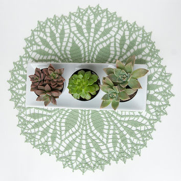 Crochet Doily, tabletop decor, lace centerpiece, frame for wall decor, lime green, succulent sage, heirloom quality, cottage chic