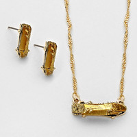 Adorn by Lulu- Glam Rock Necklace in Gold/ Gold Metallic